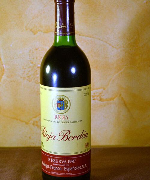 Rioja Bordón Franco Españolas Reserva 1987