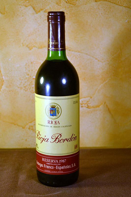 Rioja Bordón Reserva 1987