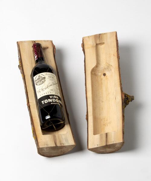 Tronco de madera para botella